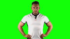 Portrait sérieux d'un homme de rugby banque de vidéos