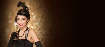 20s style festive  beauty. Royalty Free Stock Image