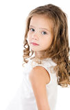 Portrait of sad adorable little girl isolated Royalty Free Stock Photo