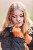 Portrait sad attractive woman outdoor Royalty Free Stock Photos