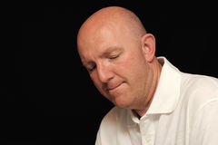 Portrait of sad bald man stock photography