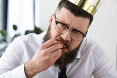 portrait of sad bearded businessman stock images