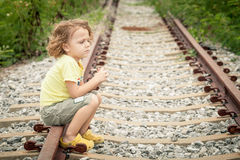 Portrait of sad blond little boy Royalty Free Stock Image