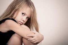 Portrait of sad blond little girl Royalty Free Stock Images