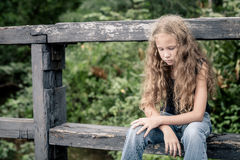 Portrait of sad blond teen girl Stock Images