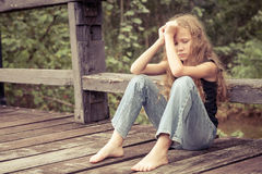 Portrait of sad blond teen girl Royalty Free Stock Photography