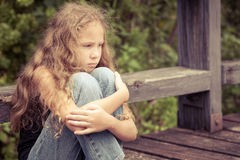 Portrait of sad blond teen girl Royalty Free Stock Images