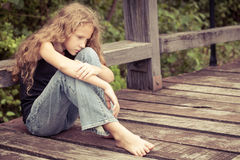 Portrait of sad blond teen girl Royalty Free Stock Photo