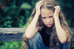 Portrait of sad blond teen girl Royalty Free Stock Photos