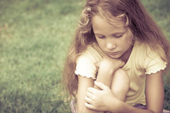 Portrait of sad blond teen girl Royalty Free Stock Image