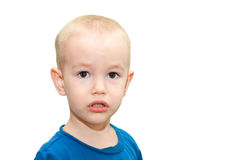 Portrait of a sad boy. On white background Royalty Free Stock Images