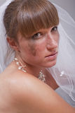 Portrait of sad bride Stock Images