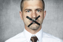 Portrait of sad businessman without voting rights Royalty Free Stock Photo