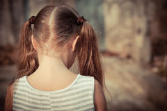 Portrait of sad child stock images