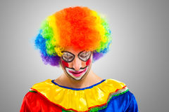 Portrait of a sad clown Stock Photos