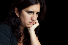 Portrait of a sad and depressed hispanic woman Royalty Free Stock Images