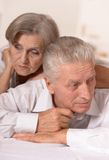 Portrait of a sad elderly couple Royalty Free Stock Images