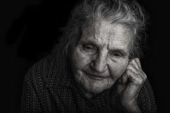Portrait of a sad elderly woman. Royalty Free Stock Photos