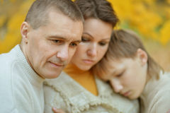 Portrait of a sad family Stock Photos
