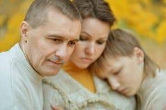 Portrait of a sad family Stock Photos