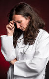 Portrait of sad female doctor Royalty Free Stock Photos