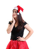Portrait of sad girl on Christmas Royalty Free Stock Photo