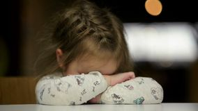 Portrait of Sad Girl Putting Her Head On Desk. Cutie Little Girl Is Going To Cry. stock video footage