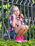 Portrait of sad girl in the summer Royalty Free Stock Photos