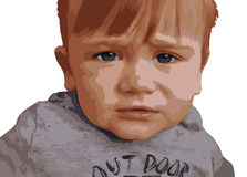 Portrait of a sad ill baby Stock Photography