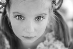 Portrait of a sad liitle girl stock photos