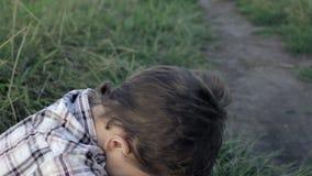 Portrait of sad little boy stock video