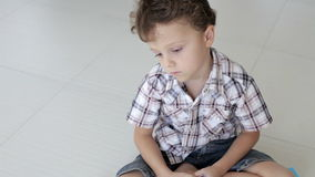 Portrait of sad little boy stock video footage