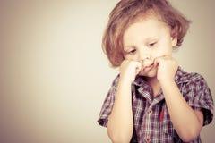 Portrait of a sad  little boy Stock Photography