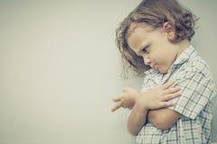 Portrait of sad little boy Stock Image