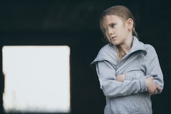 Portrait of sad little girl. Outdoors at the day time. Concept of sorrow royalty free stock photos