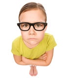 Portrait of a sad little girl wearing glasses Stock Images