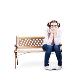 Portrait Of A Sad Lonely Woman Alone On Park Bench Royalty Free Stock Photo