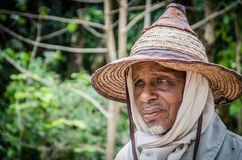 Portrait of sad looking Fulani man in traditional clothing with wide hat, Ring Road, Cameroon, Central Africa royalty free stock photo