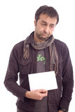 Portrait of a sad looking man. Isolated over a white background Stock Photo