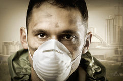 Portrait of Sad man in breathing mask Royalty Free Stock Images