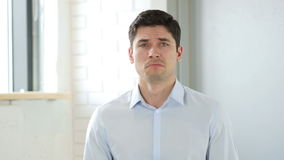 Portrait of Sad Man Crying stock video footage