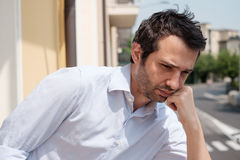 Portrait of sad man. Thoughtful Stock Image