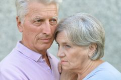 Portrait of sad mature couple Royalty Free Stock Photo