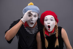 Portrait of sad mime couple crying  on Stock Images
