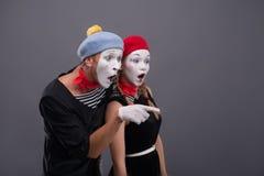 Portrait of sad mime couple crying  on Royalty Free Stock Photo