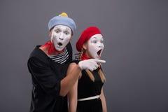 Portrait of sad mime couple crying  on Royalty Free Stock Image