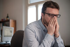 Portrait of sad office worker Royalty Free Stock Image
