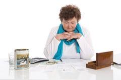 Portrait: Sad, poor and depressed old woman: Concept pensioner m stock photo
