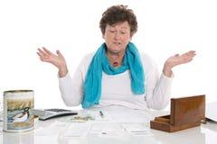 Portrait: Sad, poor and depressed old woman: Concept pensioner m Stock Image