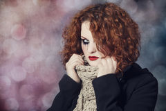 Portrait of a sad redhead. Stock Photography